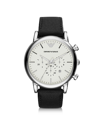 Emporio Armani - Silver Tone Stainless Steel & Black Leather Strap Men's Watch