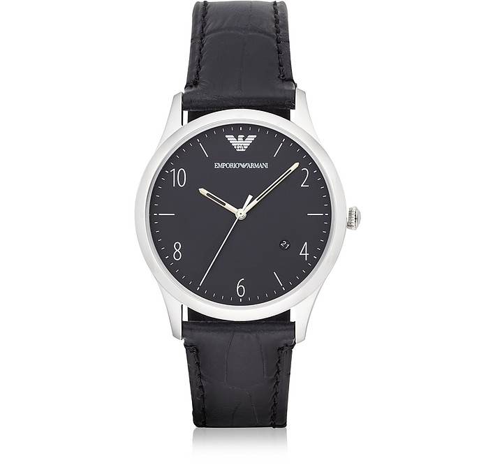 Stainless Steel Round Dial Men's Watch w/Black Croco Embossed Strap - Emporio Armani