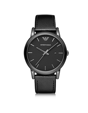 Emporio Armani - Polished Black Stainless Steel Men's Watch w/Smooth Leather Strap