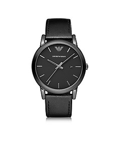 Polished Black Stainless Steel Men's Watch w/Smooth Leather Strap