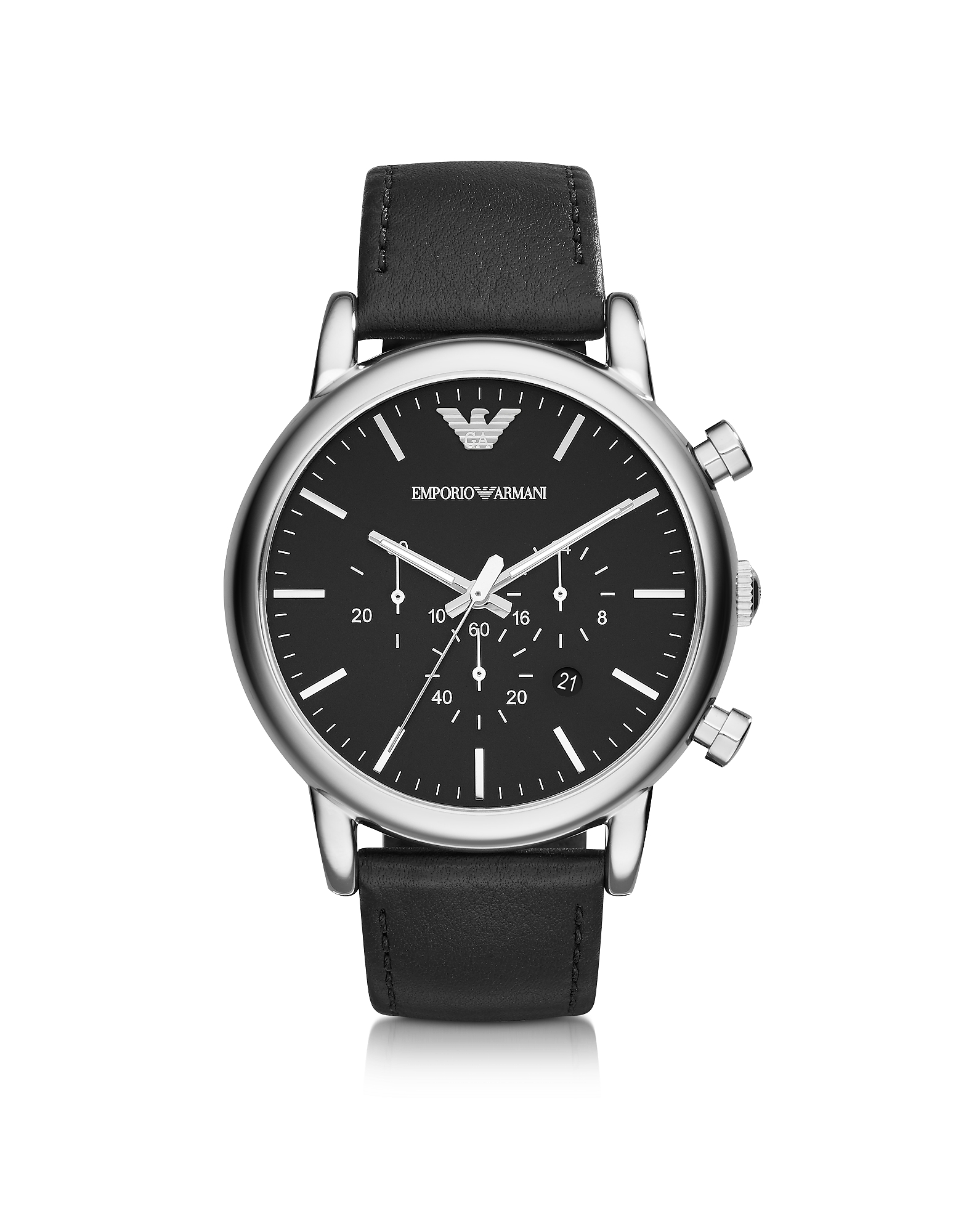 Emporio Armani Men's Watches, Silver Tone Stainless Steel & Black Leather Strap Men's Watch
