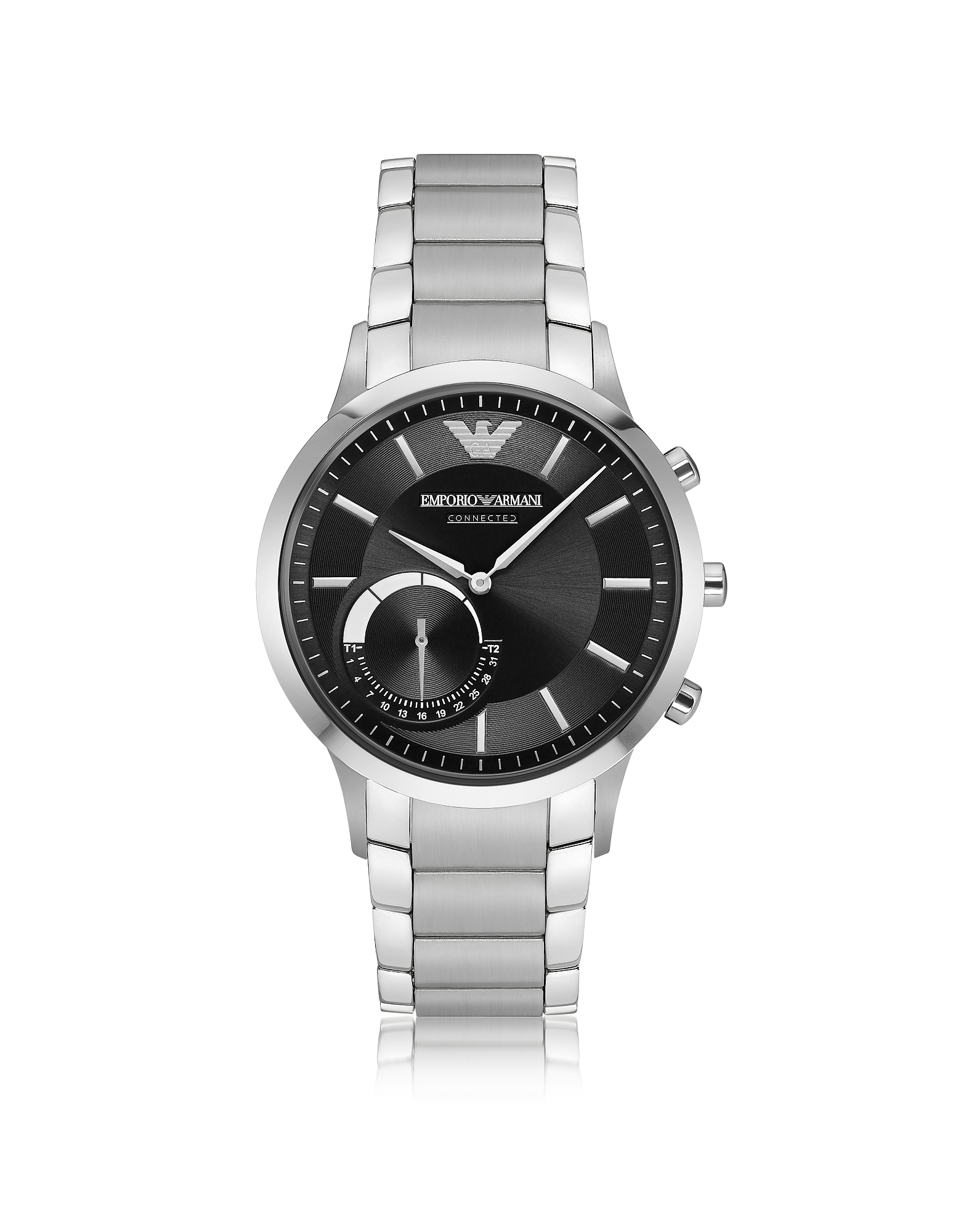 Emporio Armani Men's Watches, Connected Satin Stainless Steel Hybrid Men's Smartwatch