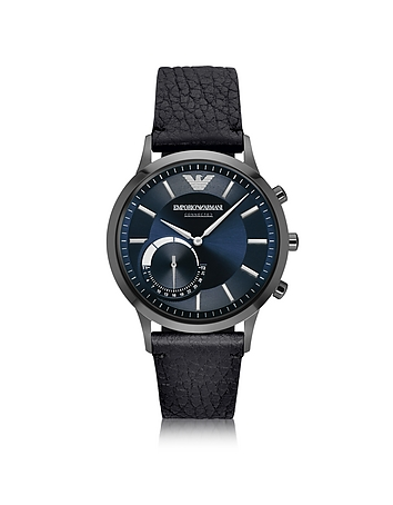 Emporio Armani - Connected Gunmetal PVD Stainless Steel Hibrid Men's Smartwatch w/Leather Strap