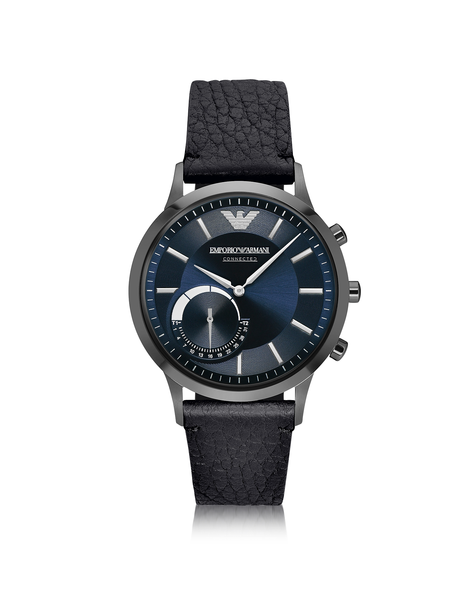 Emporio Armani Men's Watches, Connected Gunmetal PVD Stainless Steel Hibrid Men's Smartwatch w/Leath