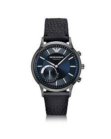 Connected Gunmetal PVD Stainless Steel Hibrid Men's Smartwatch w/Leather Strap - Emporio Armani