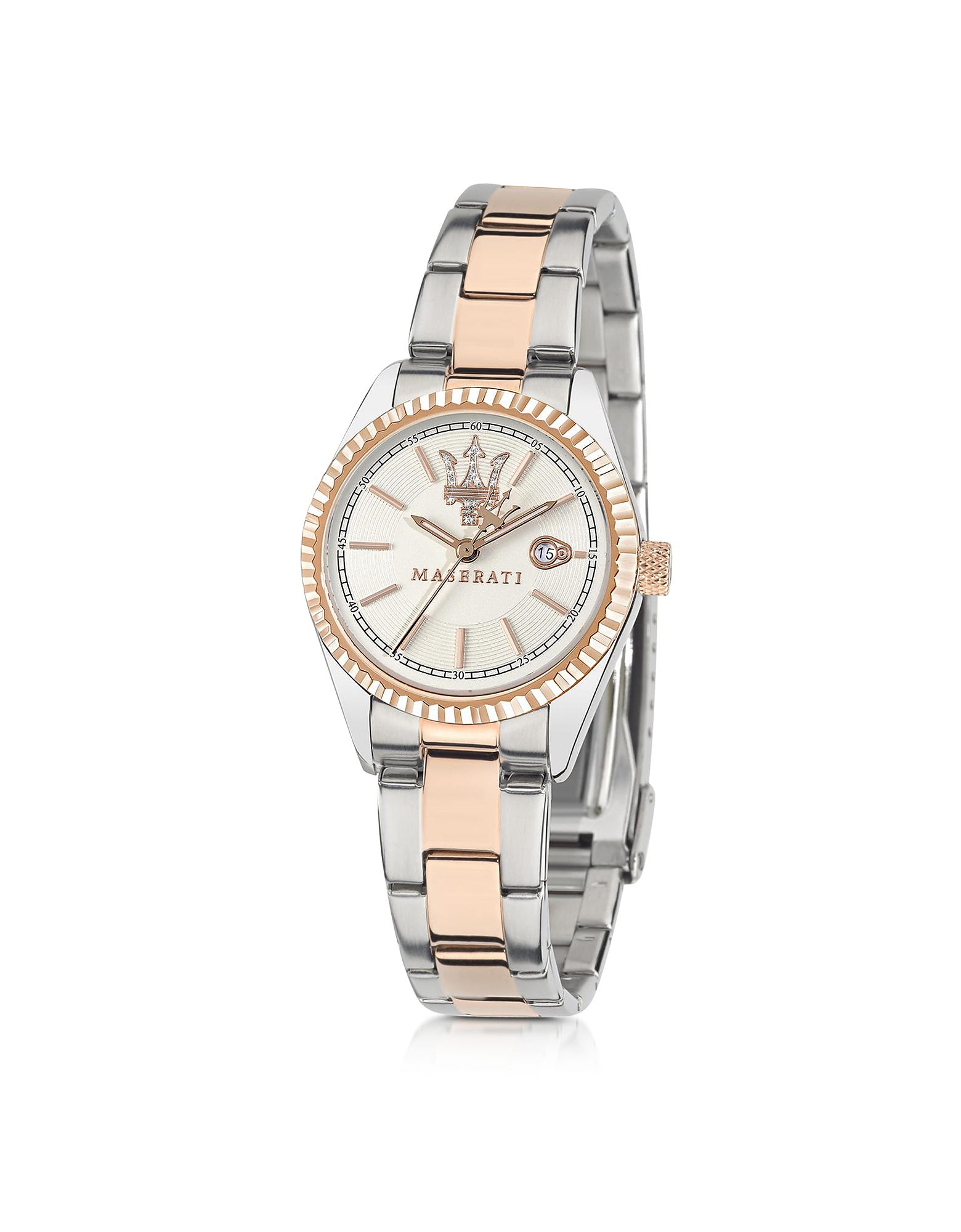 Maserati Women's Watches, Competizione Silver and Rose Golden Stainless Steel Women's Watch