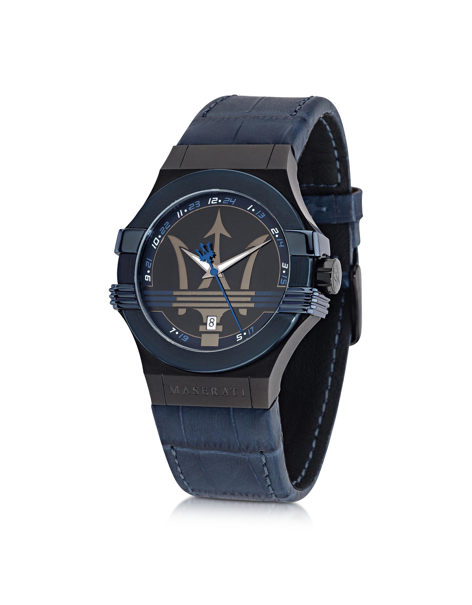 Maserati Men's Watches, Potenza Blue Stainless Steel Men's Watch w/Croco Embossed Leather Band
