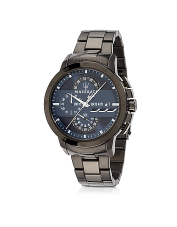 Ingegno Black Stainless Steel Men's Chrono Watch
