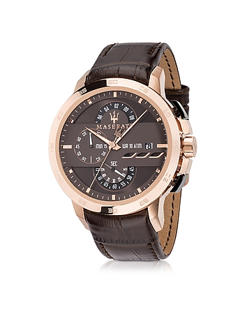 Maserati - Ingegno Rose Gold Tone Stainless Steel Case and Brown Embossed Leather Strap Men's Chrono