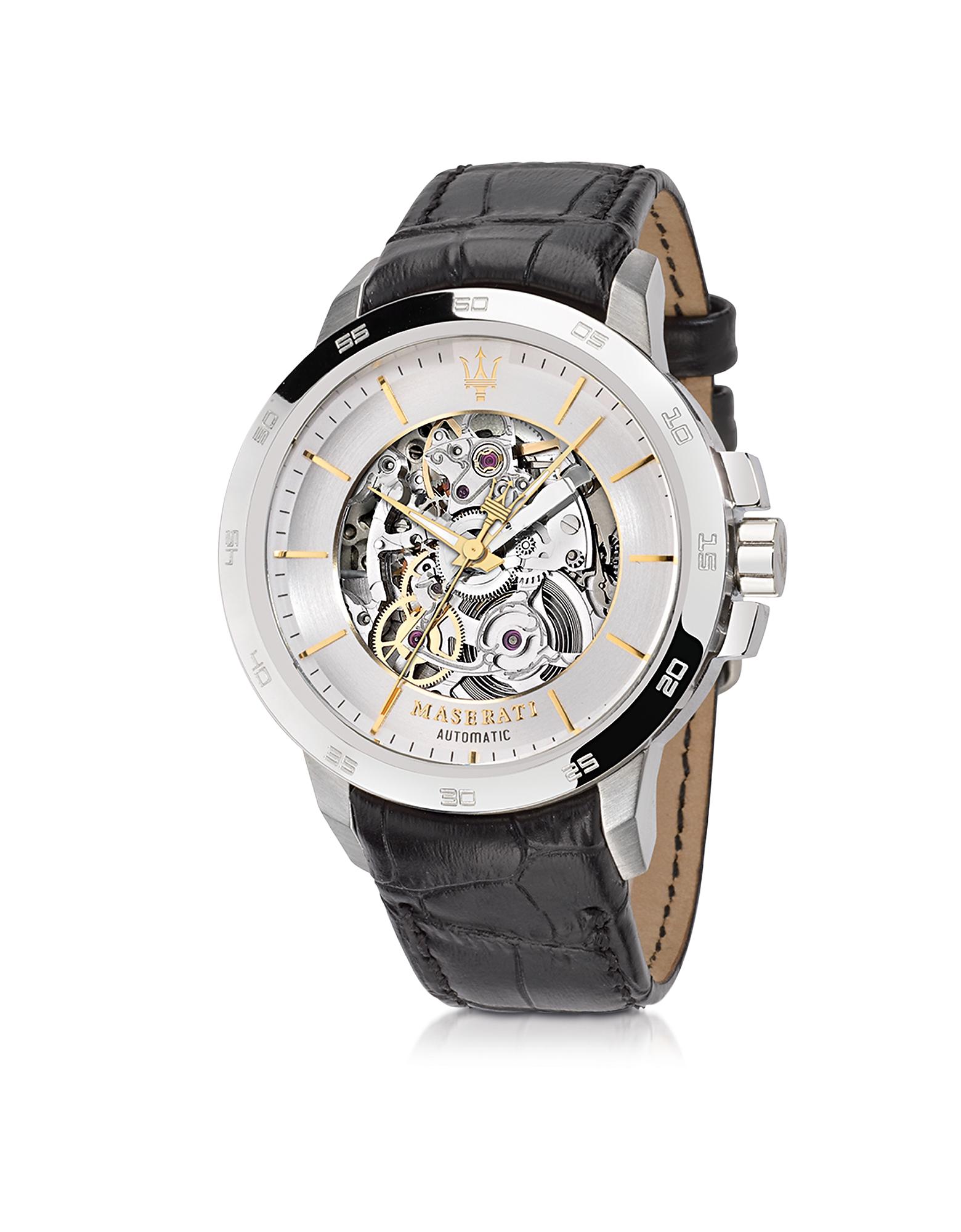 Фото Ingegno - Серебристые Мужские Часы из Нержавеющей Стали с Черным Кожаным Ремешком. Купить с доставкой