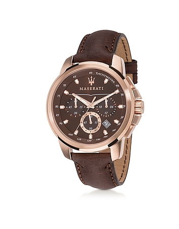 Maserati - Successo Rose Gold Tone Stainless Steel Case and Brown Leather Men's Chrono Watch