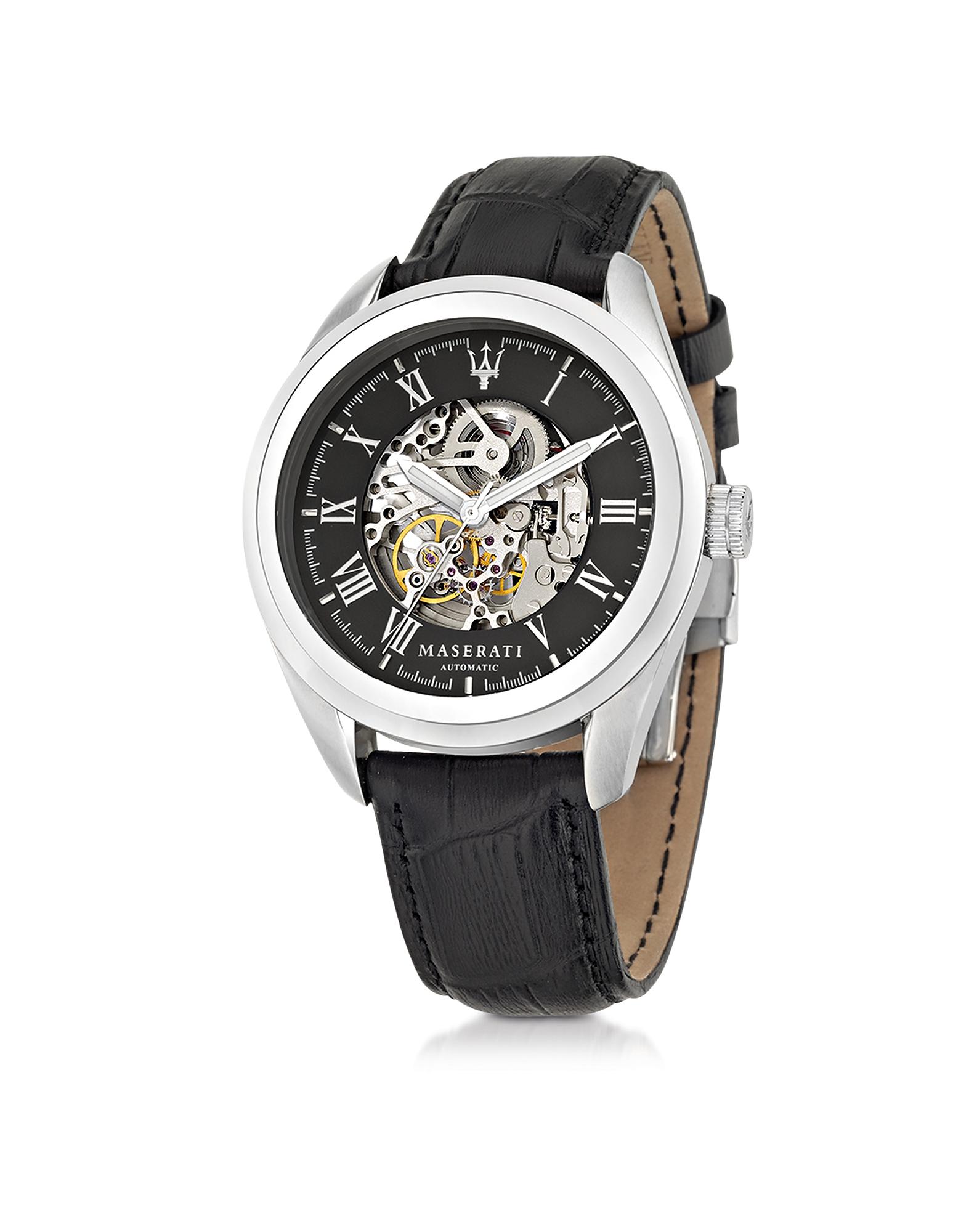 Traguardo - Серебристые Мужские Часы из Нержавеющей Стали с Черным Ремешком