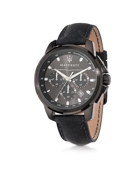 Maserati Successo - Montre Chronographe Homme en Acier Inoxydable Noir et Bracelet en Cuir