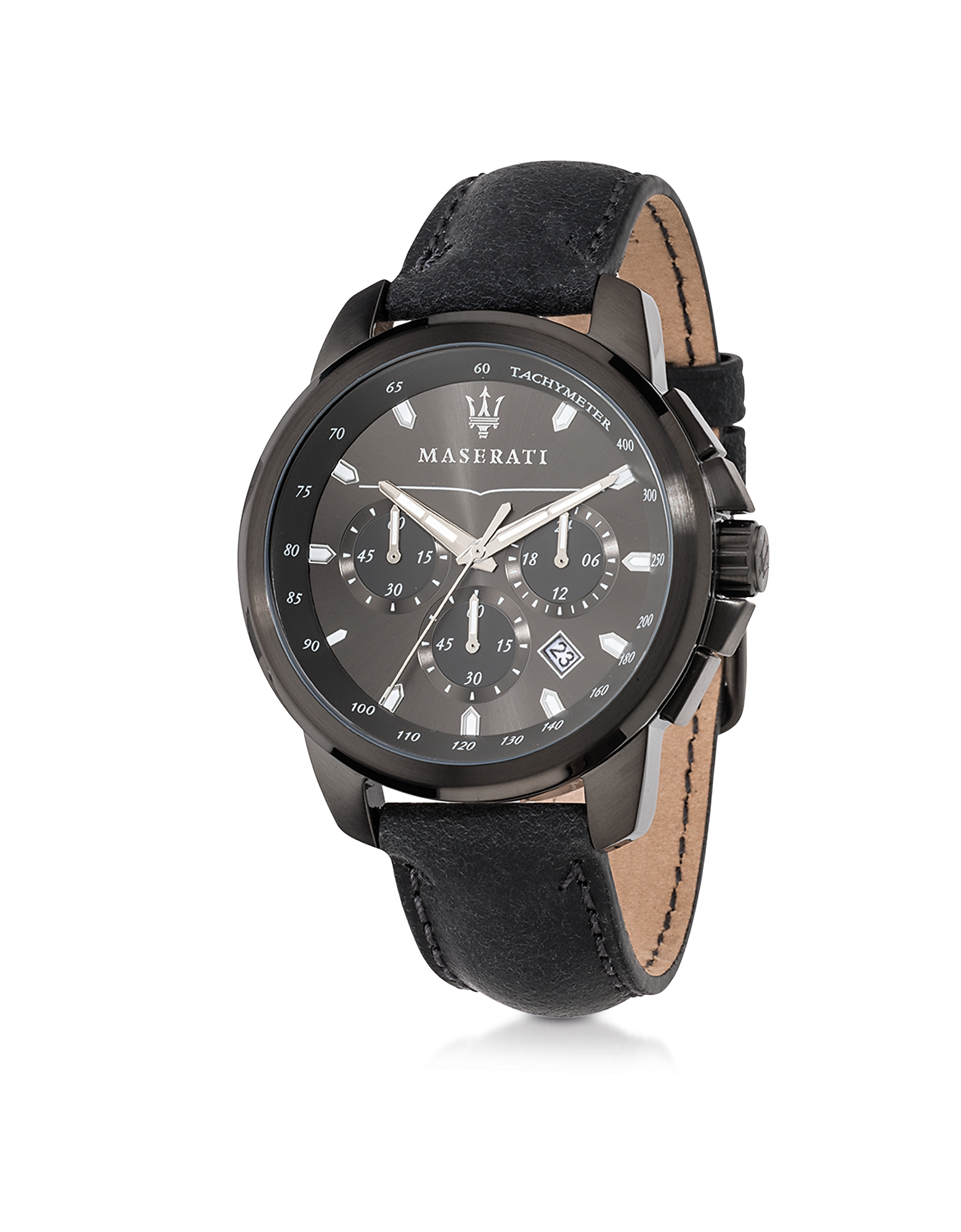 Maserati Men's Watches, Successo Black Stainless Steel Case and Leather Strap Men's Chrono Watch