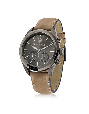 Maserati - Pole Position Chronograph Gunmetal Dial and Brown Leather Strap Men's Watch