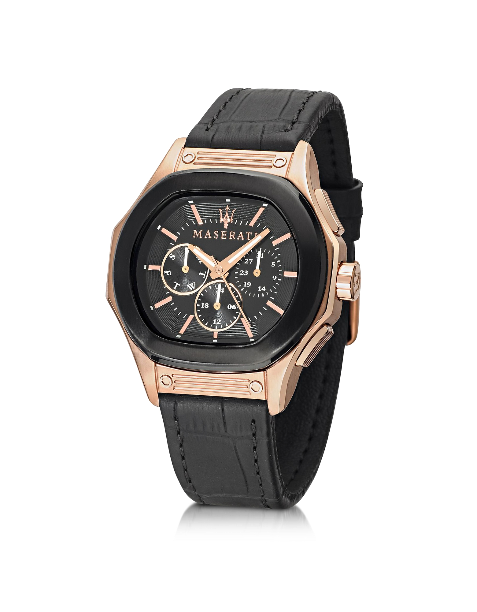 Maserati Men's Watches, Fuoriclasse Multi-Function Dial and Black Eco-Leather Strap Men's Watch