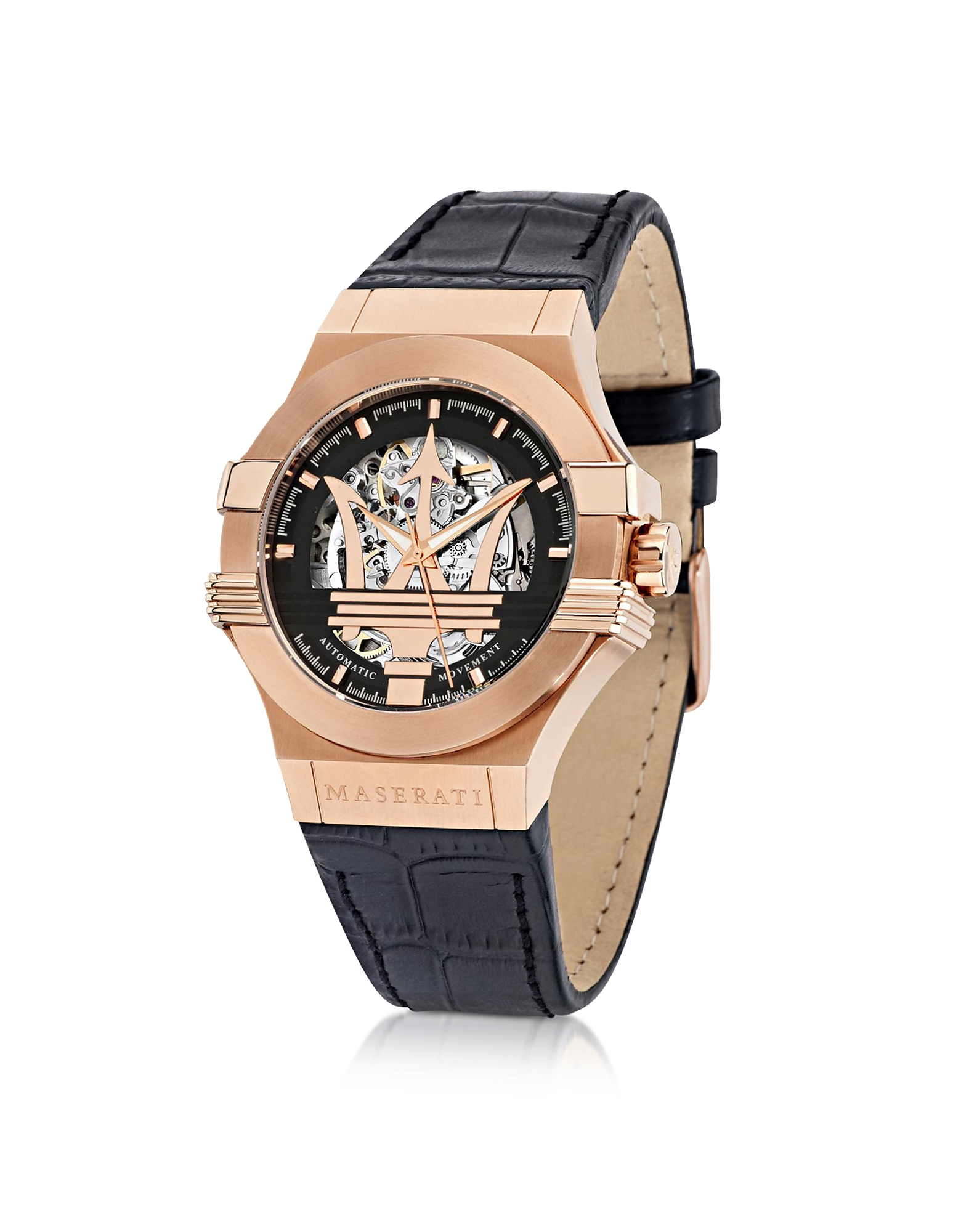 Maserati Men's Watches, Potenza Auto Black Dial and Leather Strap Rose Gold Tone Men's Watch