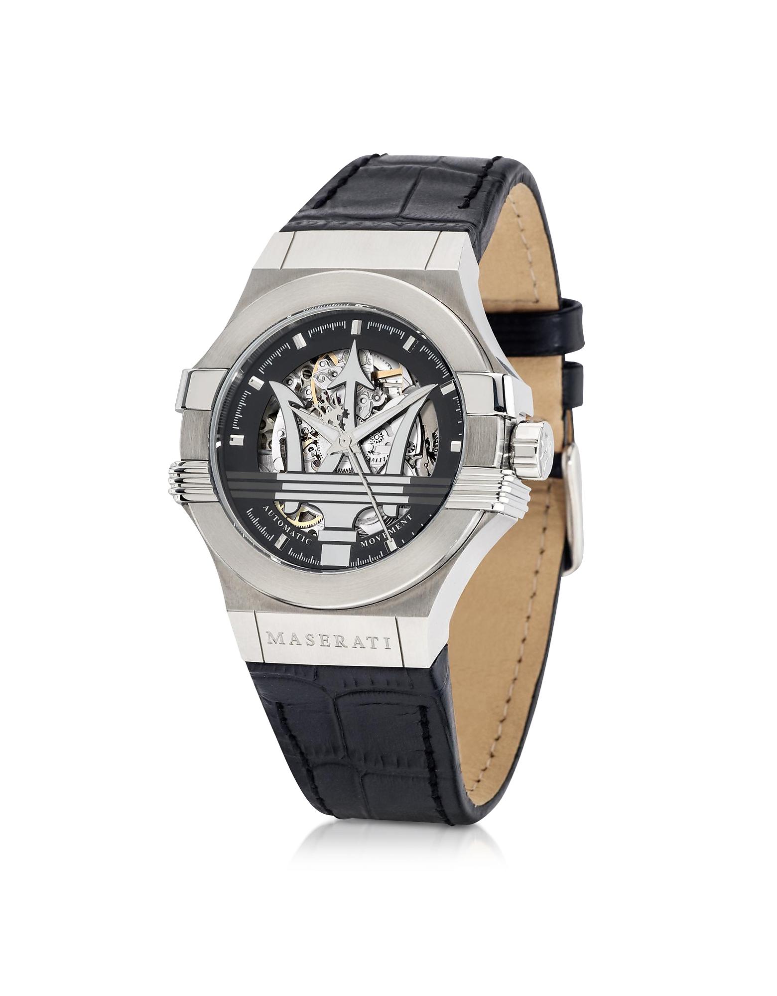 Potenza Auto - Серебристые Мужские Часы с Черным Циферблатом на Кожаном Ремешке