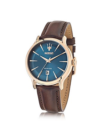 Maserati - Epoca Blue Dial and Brown Leather Strap Men's Watch