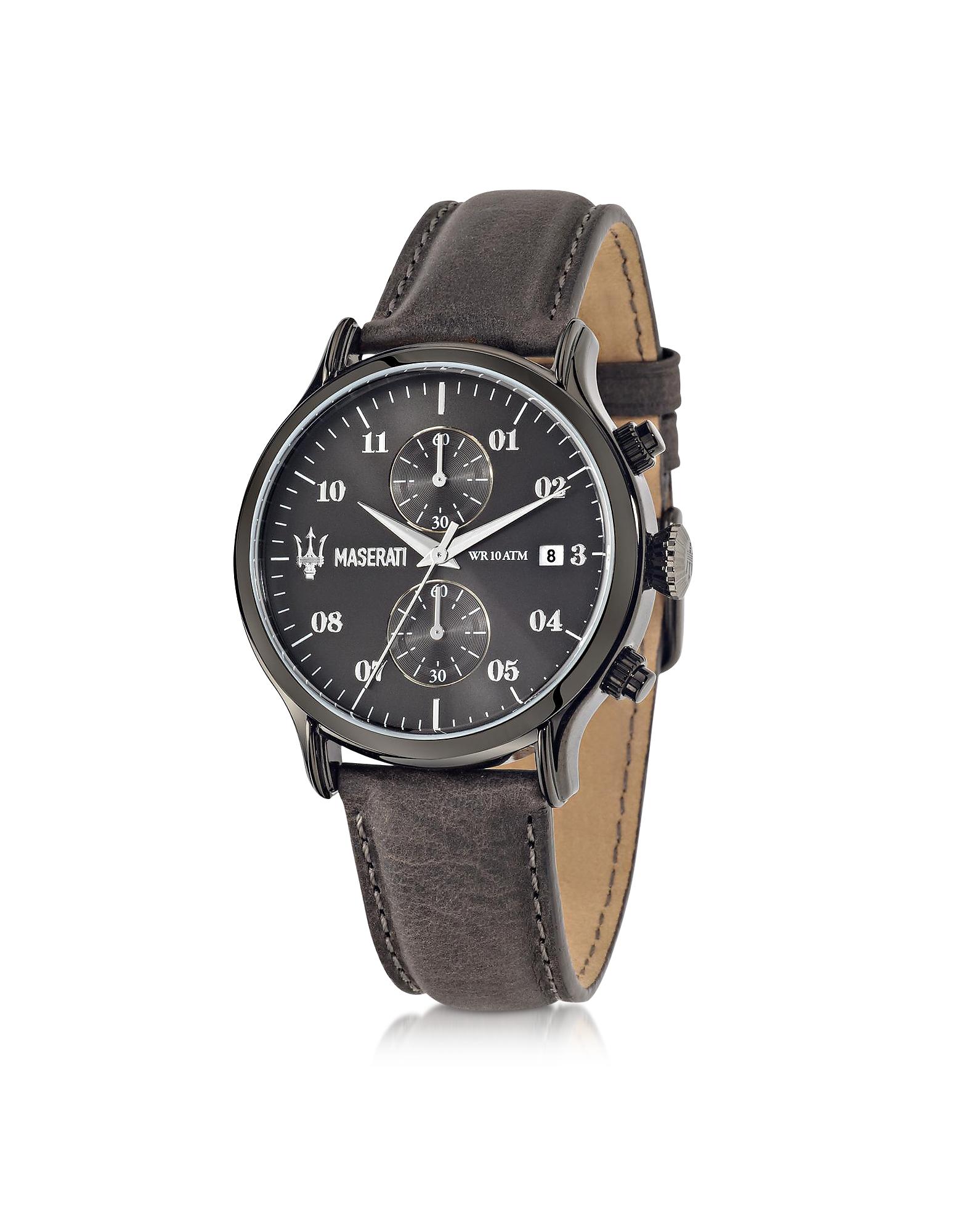 Фото Epoca - Мужские Часы Хронограф с Темным Циферблатом и Кожаным Ремешком. Купить с доставкой