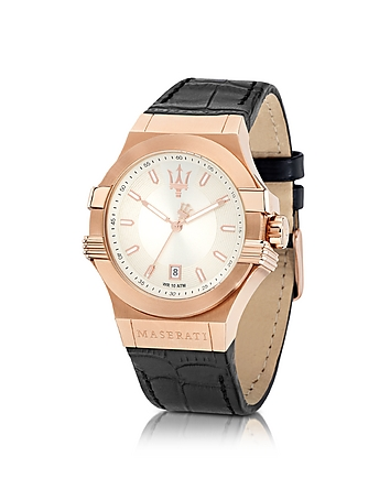Maserati - Potenza Rose Gold Tone Stainless Steel and Black Leather Strap Men's Watch