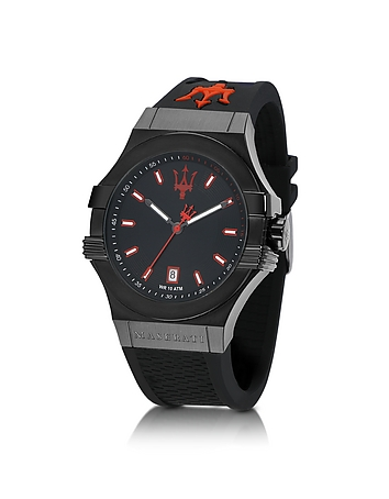 Maserati - Potenza Black Stainless Steel and Silicone Strap Men's Watch