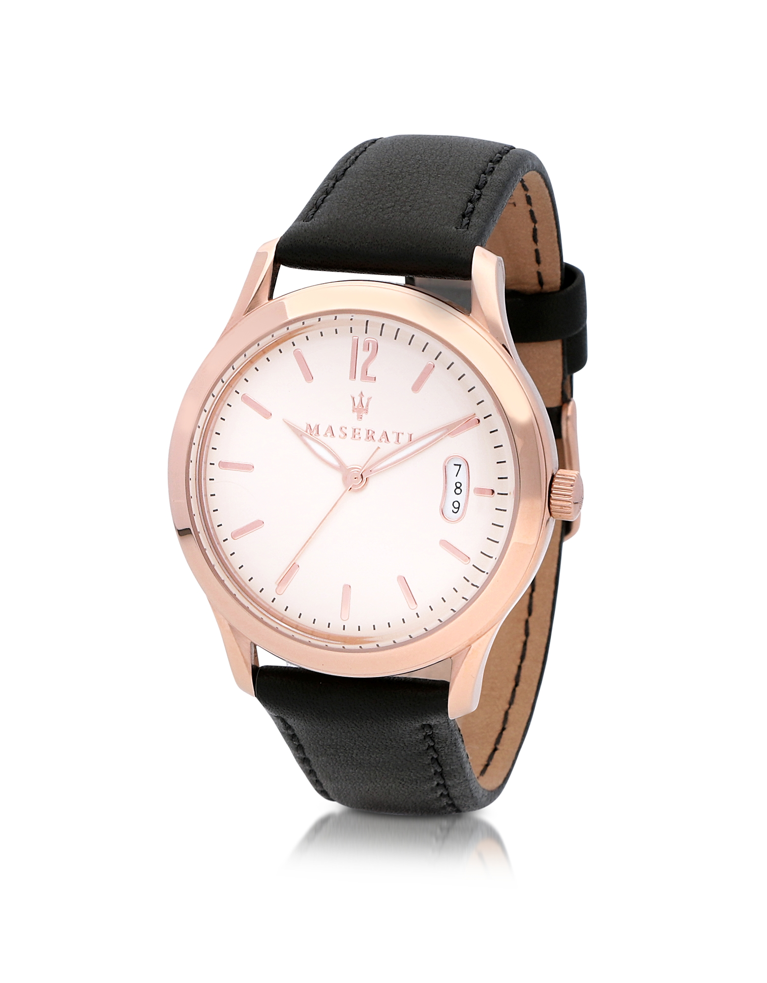 Tradizione Rose Gold Tone Case and Black Leather Strap Men's Watch