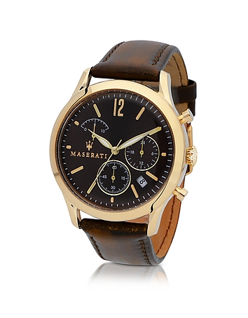 Maserati - Tradizione Gold Tone Case and Brown Leather Strap Men's Chrono Watch