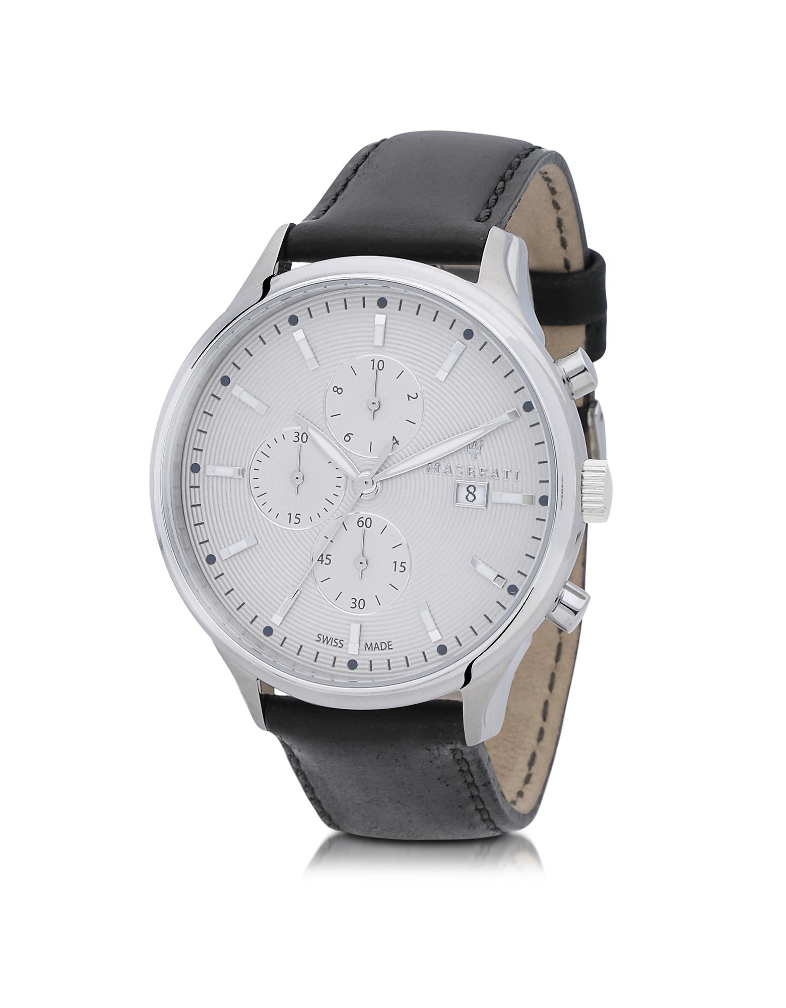 Maserati Men's Watches, Attrazione Silver Tone Stainless Steel Case and Black Leather Strap Men's Ch