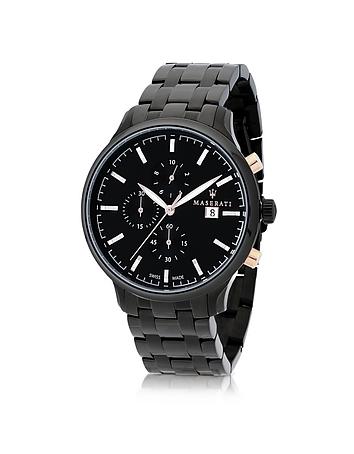 Attrazione Black Stainless Steel Men's Bracelet Chrono Watch