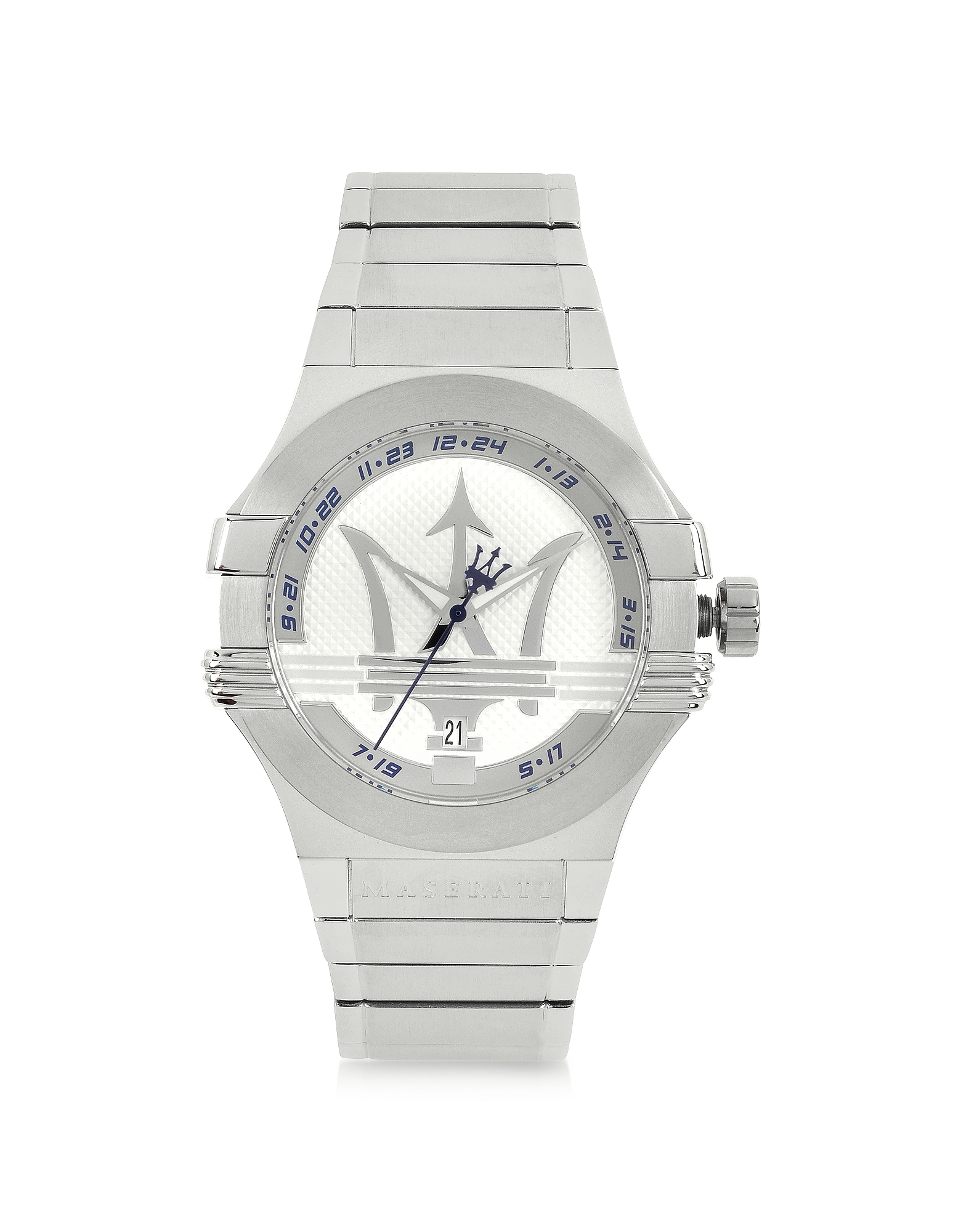 Maserati Women's Watches, Potenza 3H Silver Dial Stainless Steel Watch