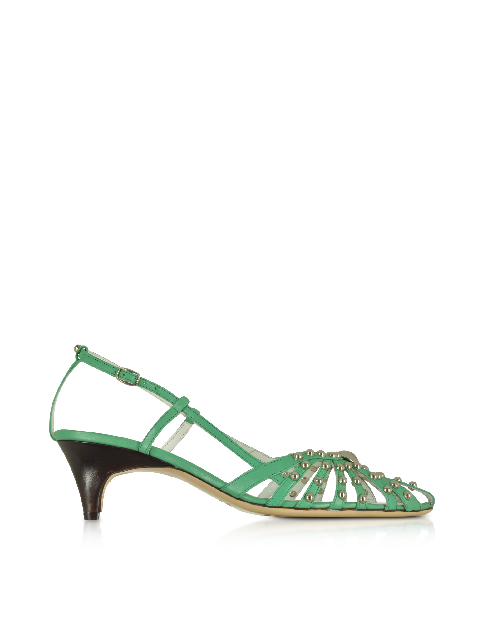Image of Mint Studded Strappy Leather Pump Shoes