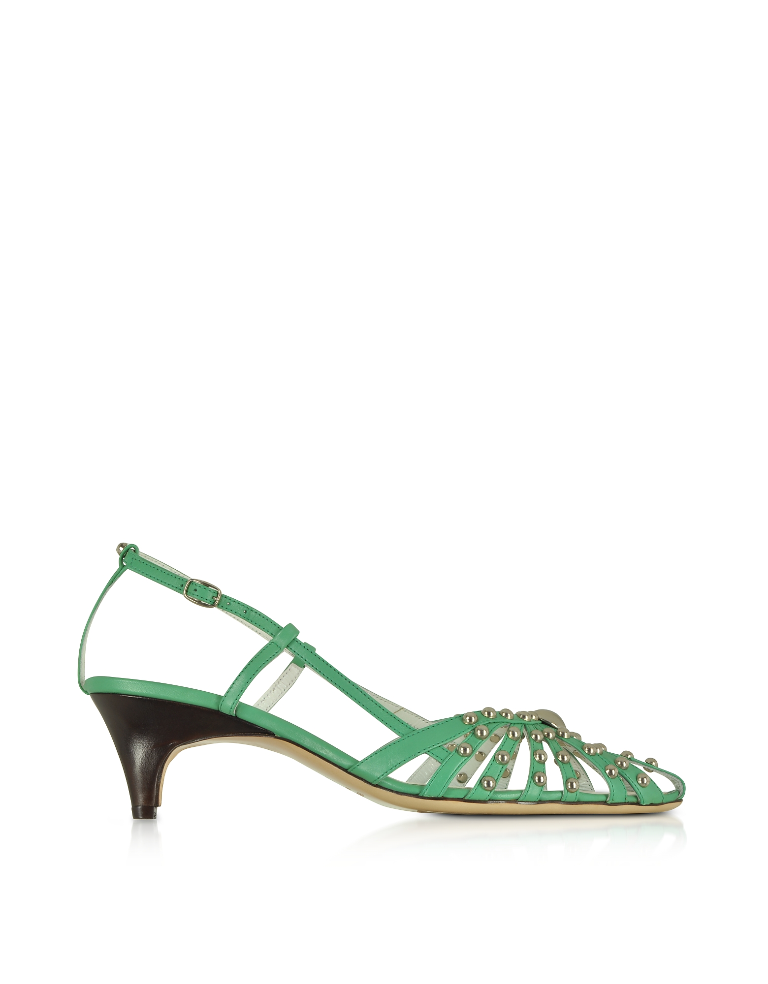 Image of Amaltea Designer Shoes, Mint Studded Strappy Leather Pump Shoes