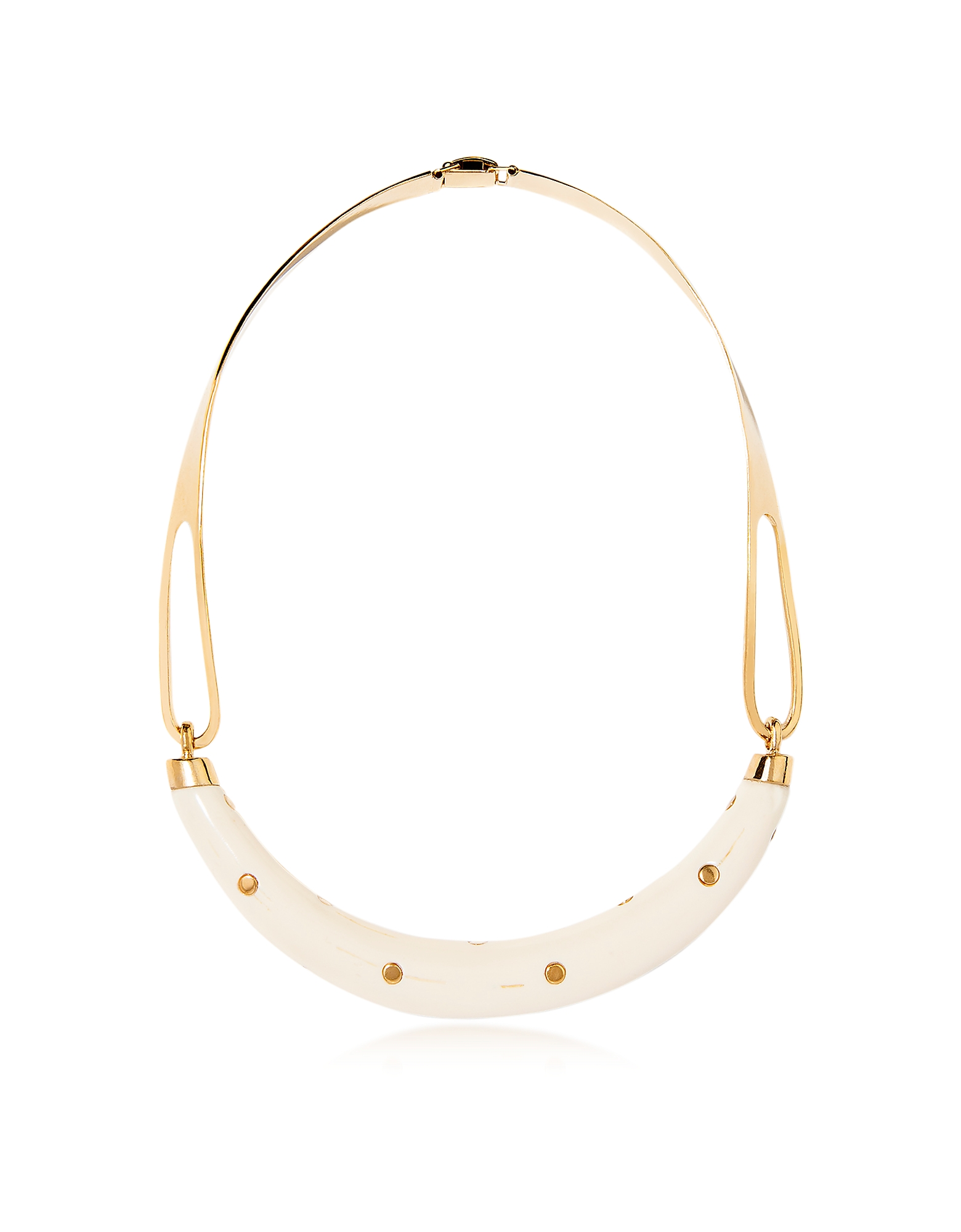Aurelie Bidermann Necklaces, Studded Caftan Gold Plated and Resin Horn Moon Necklace