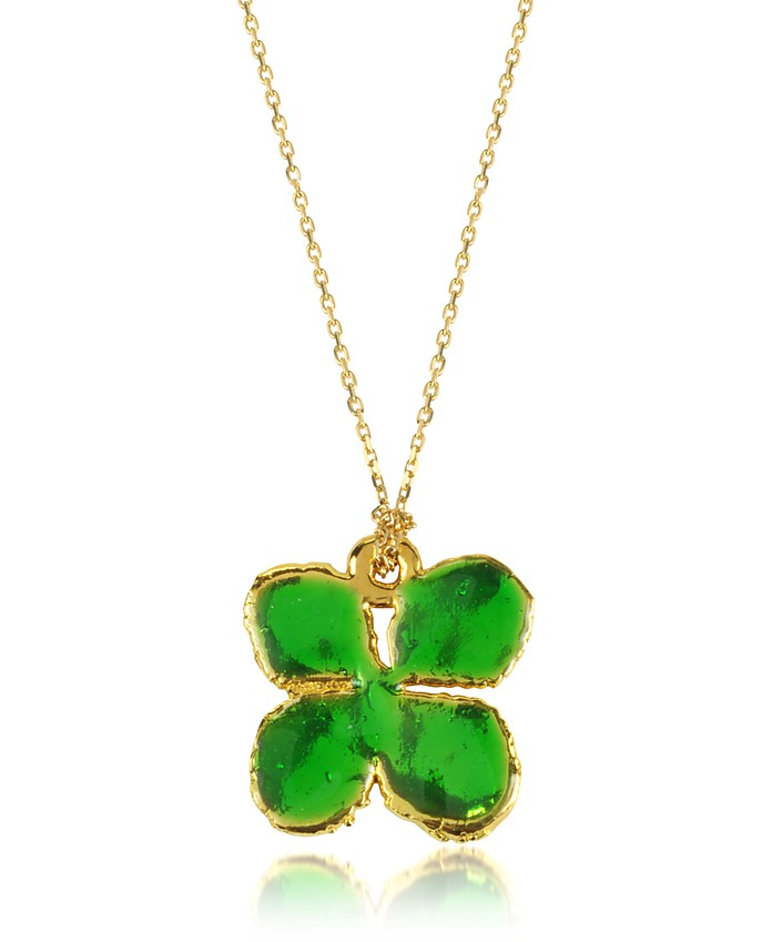 Emerald Green Mini Clover Necklace  - Aurelie Bidermann