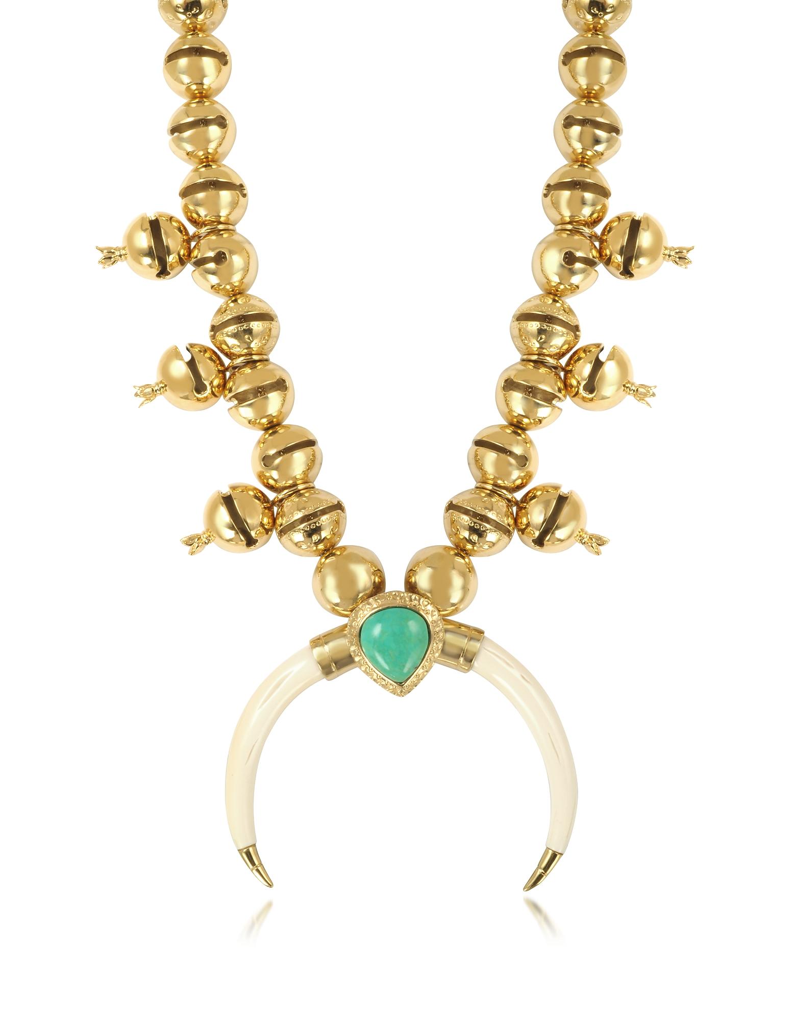 Aurelie Bidermann Navaho - Позолоченное Ожерелье с Подвеской из Рога и Бирюзы