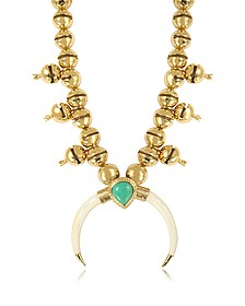 Navaho Gold Plated, Horn and Turquoise Pendant Necklace - Aurelie Bidermann