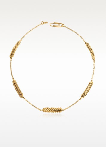 Five Wheat Cobs 18K yellow Gold-plated Choker - Aurelie Bidermann