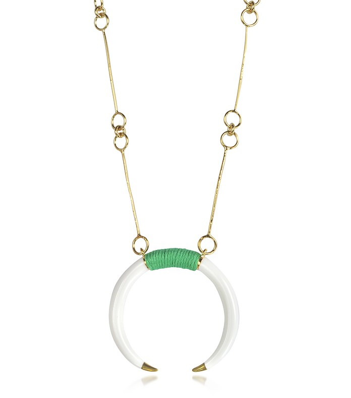 18K Gold-Plated Brass and White Resin Horn Pendant Necklace - Aurelie Bidermann