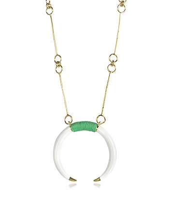 18K Gold-Plated Brass and White Resin Horn Pendant Necklace