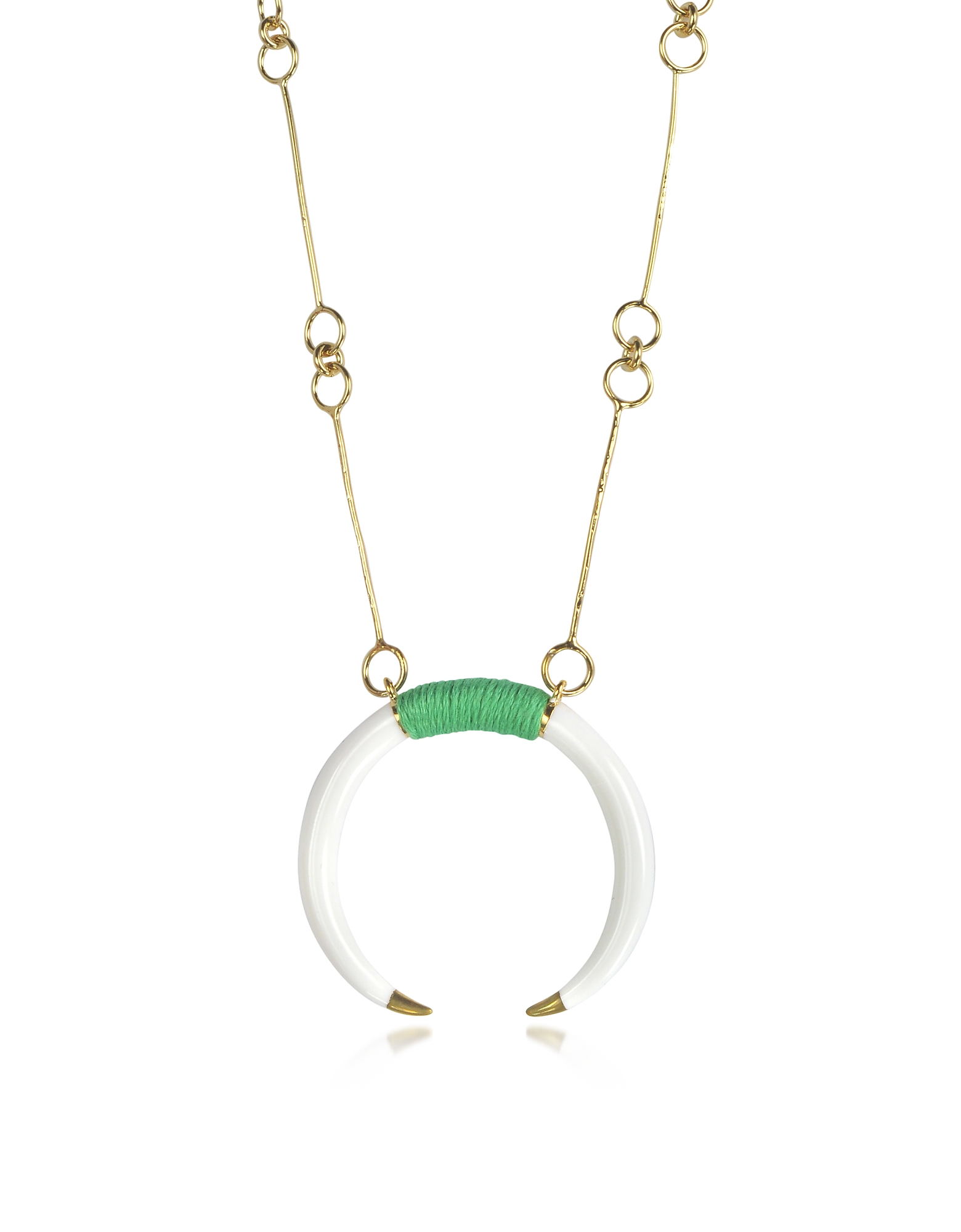 Aurelie Bidermann Necklaces, 18K Gold-Plated Brass and White Resin Horn Pendant Necklace