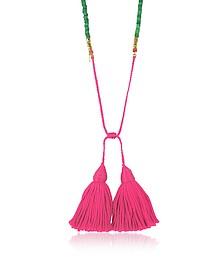 Sioux - Позолоченное Ожерелье с Зелеными Бусинками - Aurelie Bidermann