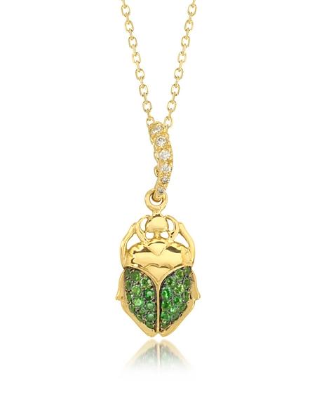 Foto Aurelie Bidermann Scarabeo in Oro 8 ct con Tsavorite Verde e Diamanti Collane