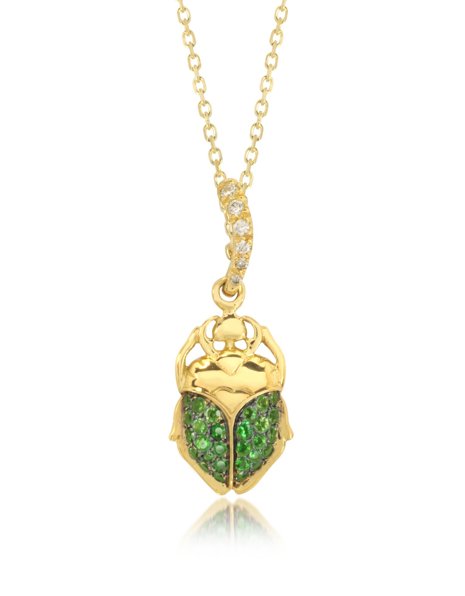 Scarabeo in Oro 8 ct con Tsavorite Verde e Diamanti