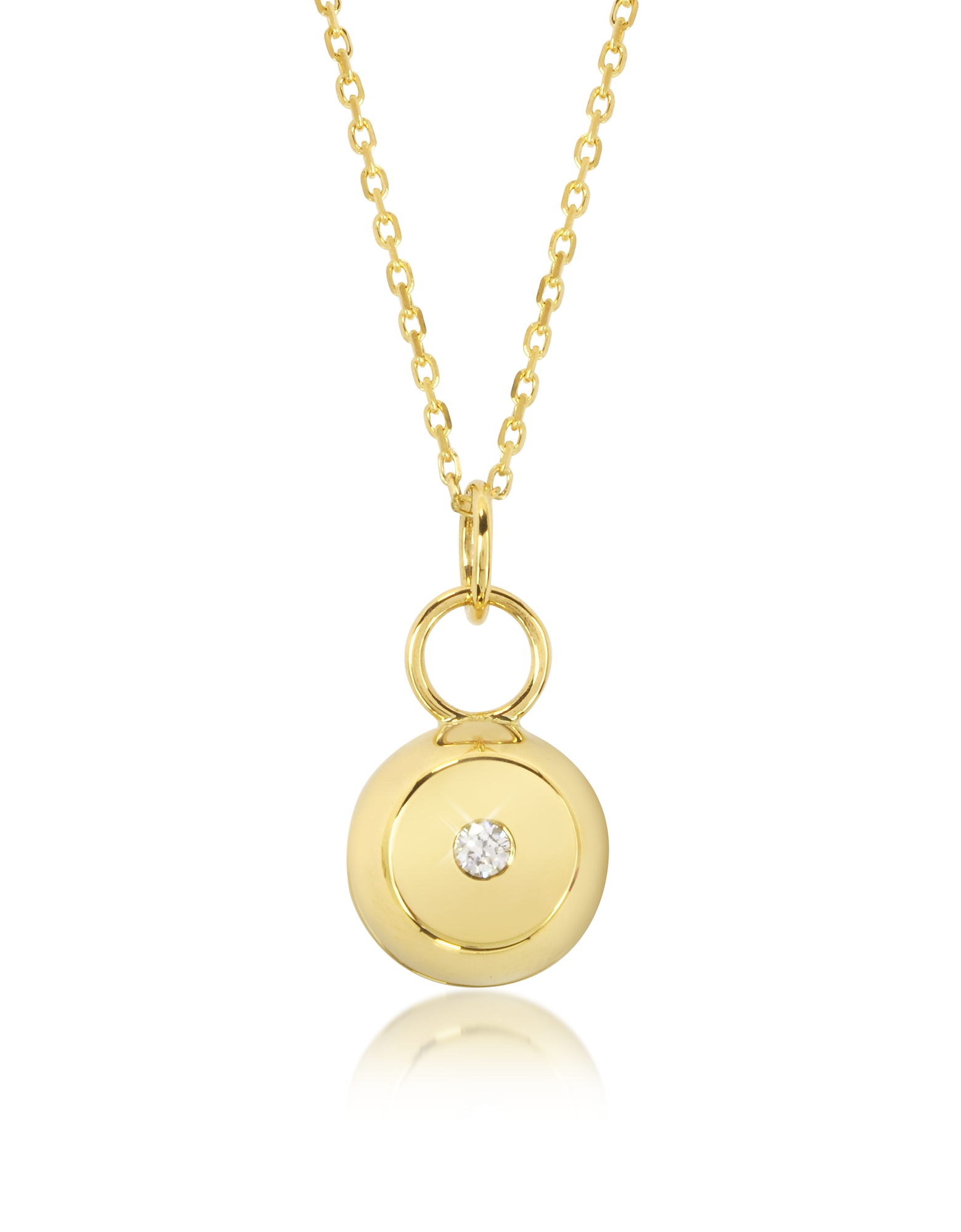 Aurelie Bidermann Necklaces, Telemaque 18K Yellow Gold and Diamond Bell Charm