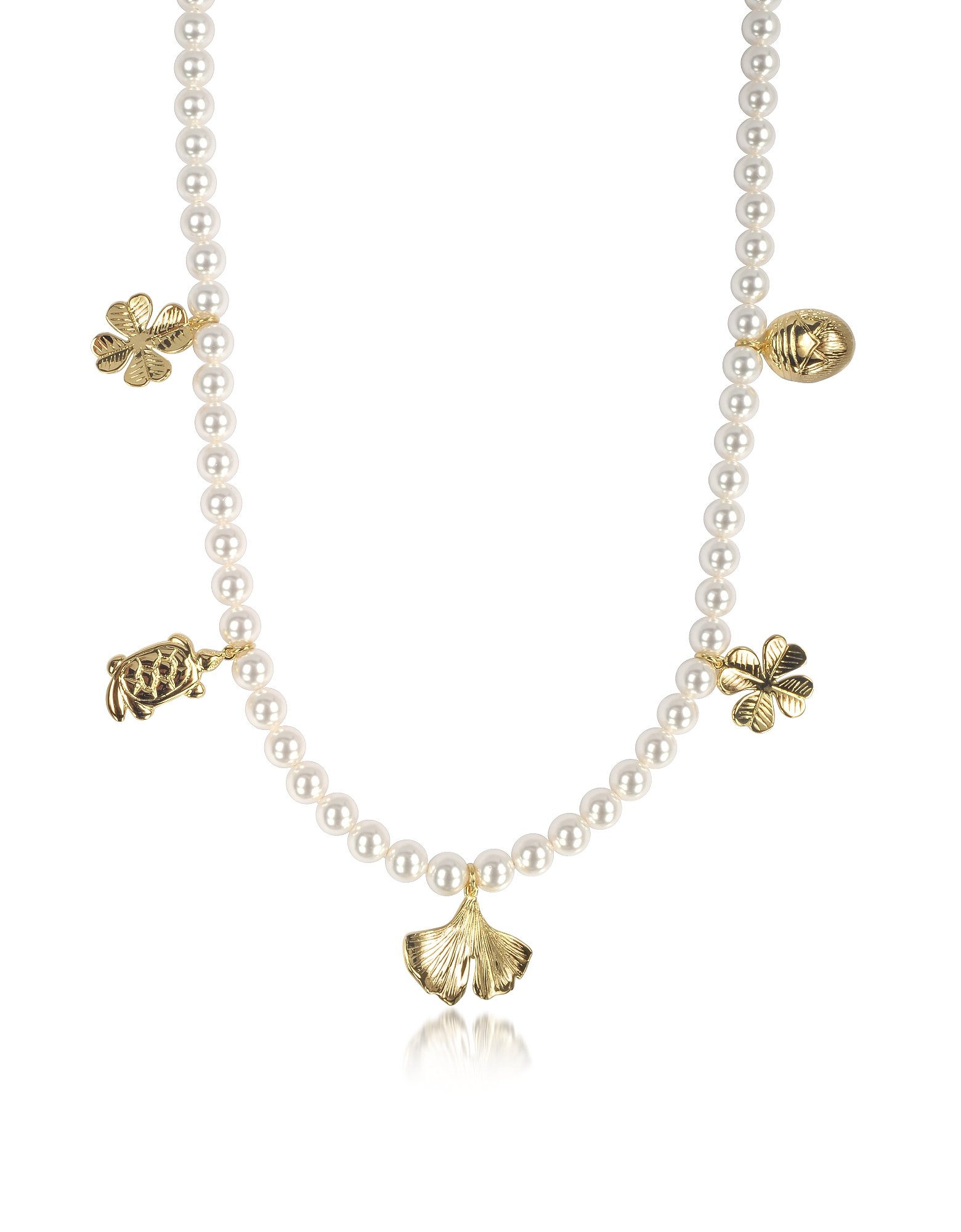 Cheyne Walk Long Necklace w/Glass Pearls and 18K Gold-Plated Charms