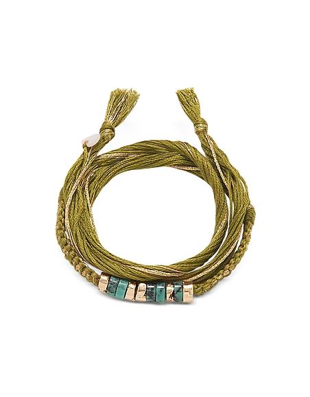 Aurelie Bidermann Takayama - Bracelet en Coton, Plaqué Or et Turquoises -