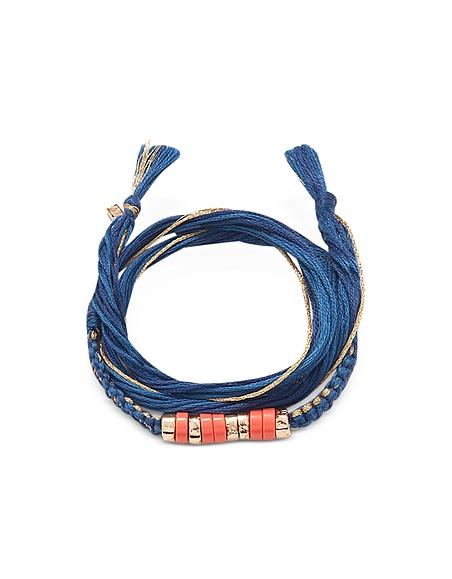Aurelie Bidermann Takayama - Bracelet en Coton, Plaqué Or et Pierres de Corail -