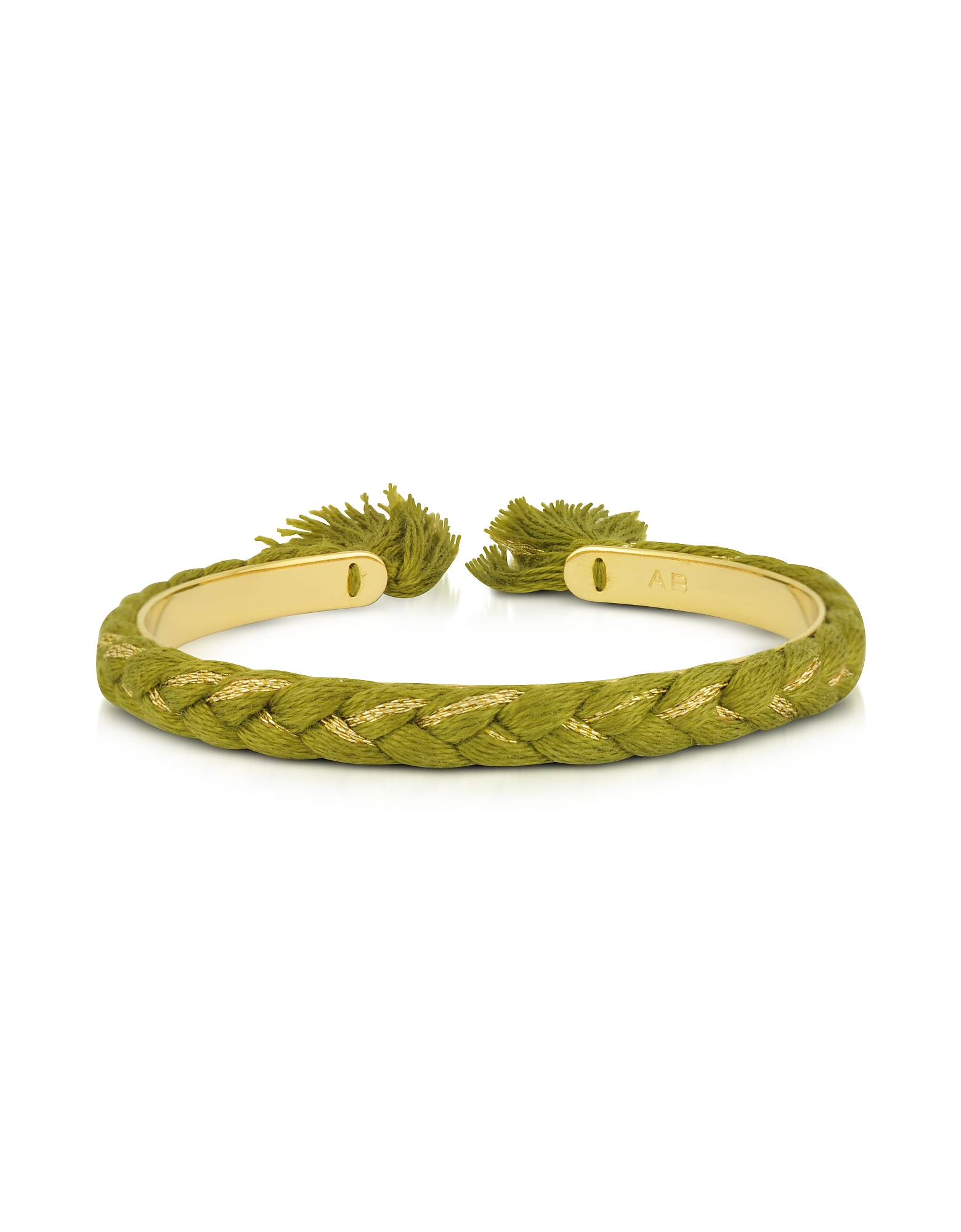 Image of Aurelie Bidermann Designer Bracelets, Copacabana Gold and Cotton Thin Bangle