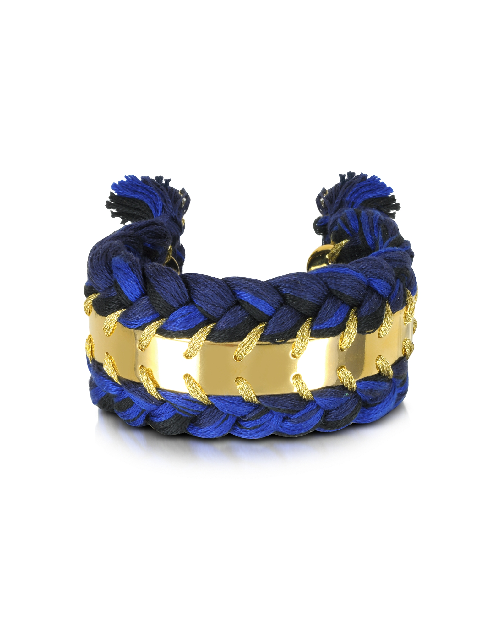 Image of Aurelie Bidermann Designer Bracelets, Copacabana Navy and Black Cotton Double Bracelet